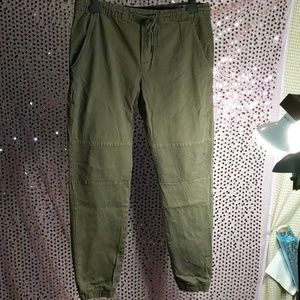Army green joggers with Moto details